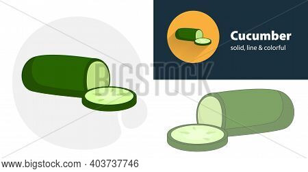 Fresh Cucumbers And Slices Of Cucumber Flat Icon, With Cucumber Simple, Line Icon