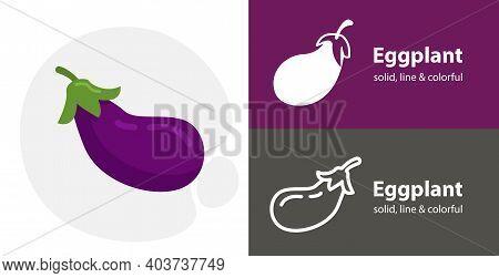 Eggplant Flat Icon, With Eggplant Simple, Line Icon