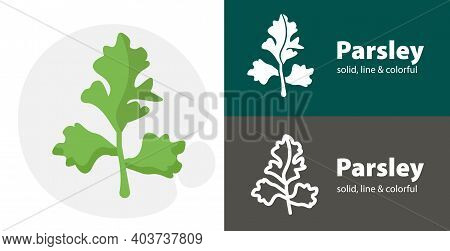 Parsley Flat Icon, With Parsley Simple, Line Icon