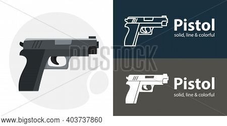 Pistol Flat Icon, With Pistol Simple, Line Icon