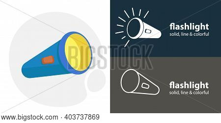 Flashlight Flat Icon, With Flashlight Simple, Line Icon