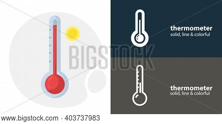Weather Thermometer Flat Icon, With Thermometer Simple, Line Icon