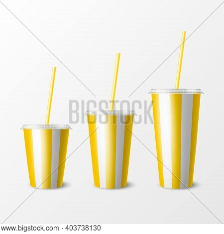 Vector 3d Realistic Yellow Striped Paper Disposable Cup Set, Lid, Straw. Beverage, Drinks, Coffee, S