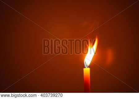 One Candle Flame At Night. Lighting Candles, Candle In Hand, Candle In The Dark, Design For The Back