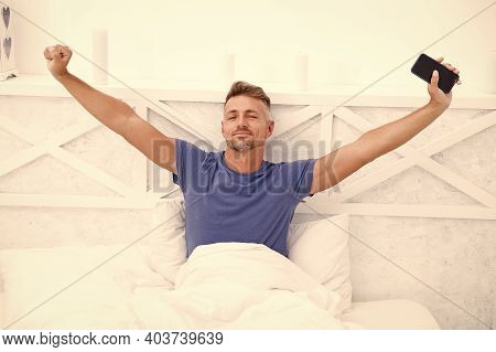 Modern Life. Self Isolation And Quarantine. Stay Home. Morning. Online Communication. Mature Man Use