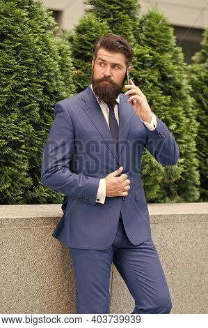 Business Communication. Mobile Technology. Business Call. Stylish Guy Wear Tuxedo. Stay Connected. B