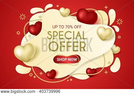 Valentine's Day Special Offer Background With Abstract Shapes. Valentine's Day Sale 70% Off Poster O