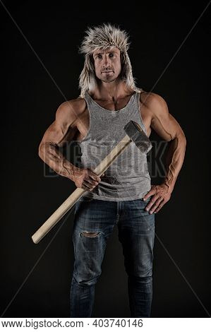 Athletic Worker Hold Hammer Tool In Strong Arms Biceps Triceps In Casual Wear Black Background, Mine