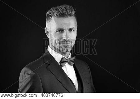 Fashion Model Man Wear Tuxedo Bow Tie Elegant Gentleman, Wedding Party Concept.