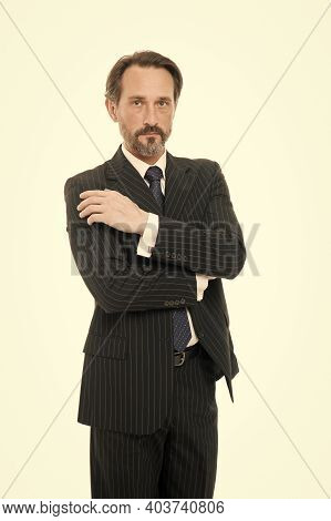 Confident Businessman. Mature Man In Business Wear Isolated On White. Professional Man In Formal Sty