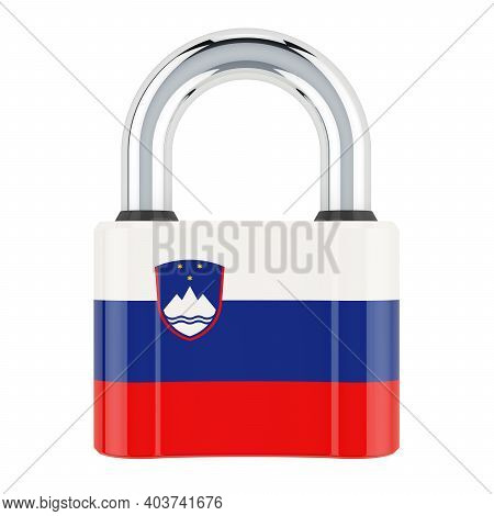 Padlock With Slovenian Flag, 3d Rendering Isolated On White Background