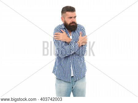 Need To Warm Up. Brutal Bearded Hipster In Checkered Shirt. Mature Man Feel Cold. Handsome Guy With
