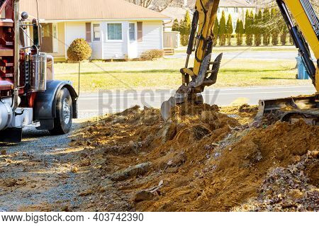 Excavator Machine Unloading Soil Earth Moving Construction Works