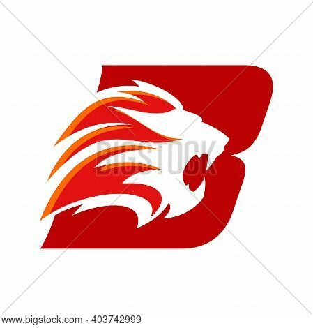 Bold And Strong Illustration Logo Design Initial B Combine With Lion Head, Make Your Company Look Br