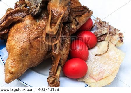 Steamed Duck For Gods Worshiping Chinese Beliefs. Chinese Culture Ancestor Food Offering, Chinese Ne