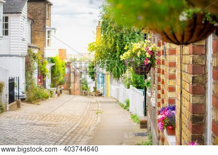 Quaint Cobbled Streets Of Upnor Village In Kent, England.
