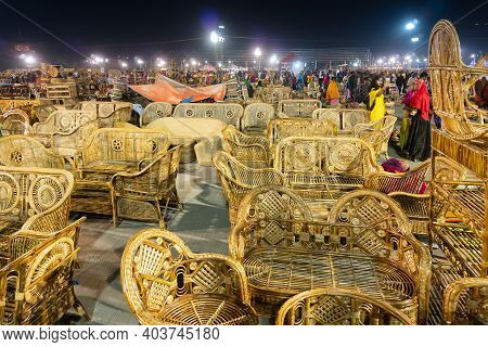 Kolkata, West Bengal, India - 31st December 2018 : Cane Sofa Sets, Chairs, Tables And Wicker Furnitu