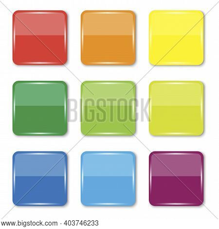 Colored Square Buttons. Teal Background. Square Glossy Keys. Blank Shiny Colored  Buttons. Stock Ima
