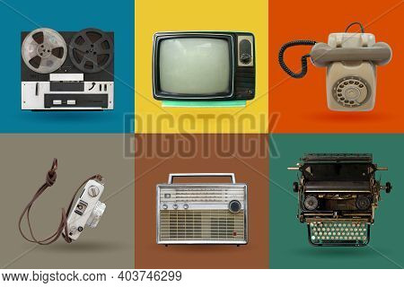 Retro Electronics Set. Nostalgic Collectibles From The Past 1980s - 1990s. Objects Isolated On Retro