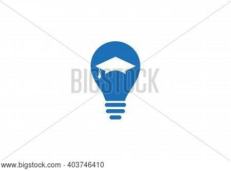 Education Hat Vector Logo Design. Creative Hat Logo Design Concept. Education Hat With Bulb Concept