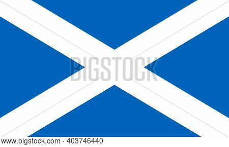 Flag Of Scotland. It Can Be Used In Travel Agencies, History Books, And Atlases.