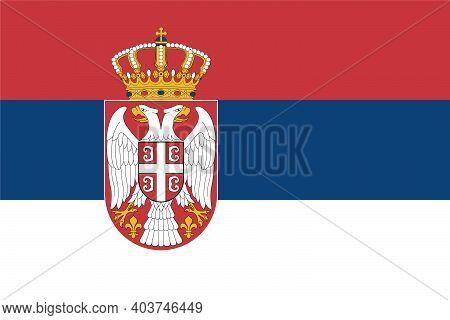 National Flag Of The Republic Of Serbia. The Concept Of Tourism, Emigration, Economics, Politics, Ci