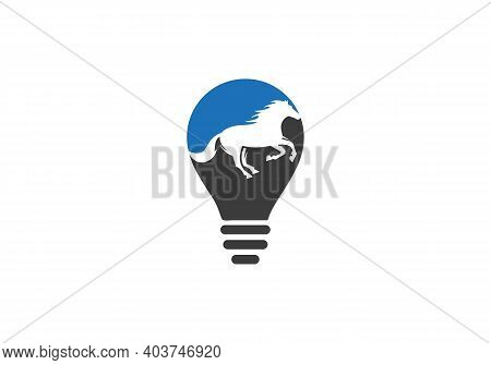 Running Horse Logo. Horse Head Bulb Shape Concept Vector Logo. Horse Head Sign. Horse Head Icon. Jum