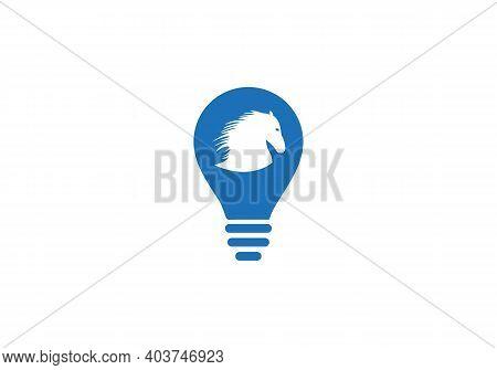 Horse Head Bulb Shape Concept Vector Logo. Horse Head Sign. Horse Head Icon. Jumping Horse With Elec