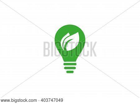 Eco Icon Green Leaf Vector. Creative Light Bulb Vector Icon. Green Leaf Design, Garden, Plant, Natur