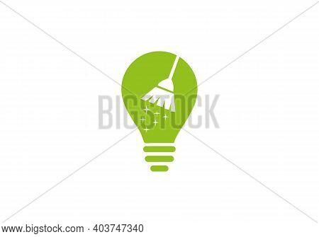 Maid Logo. Cleaning Service Logo Design Idea. Building And House Cleaning Logo. Maid Logo With Elect