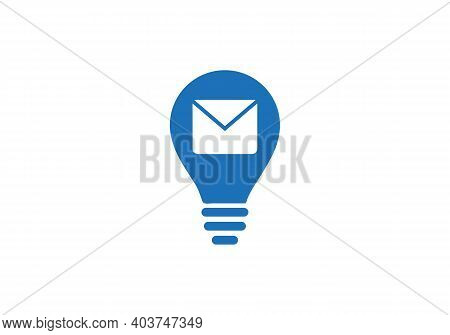 Send Message Icon. Message Envelope Logo With Bulb Concept