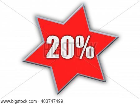 20 Percent Off 3d Sign On White Background, Special Offer 20% Discount Tag, Sale Up To 20 Percent Of