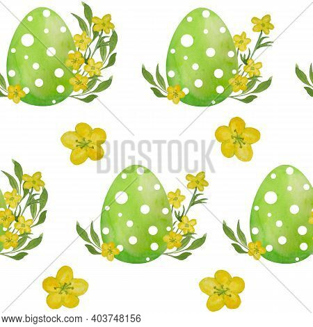 Watercolor Seamless Hand Drawn Pattern With Green Easter Polka Dot Eggs And Yellow Ranunculus Butter