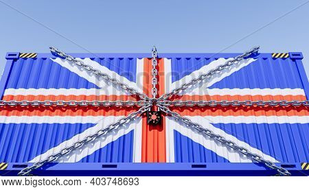 3d Rendering Of Cargo Container And Uk Business Lockdown Due To Epidemic Of Coronavirus (covid-19).