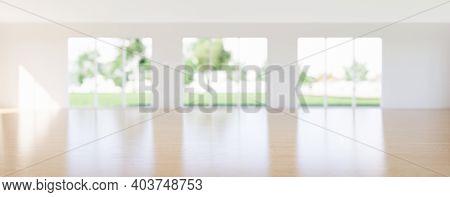 3d Rendering Of Wood Floor, Wooden Floor In Perspective View For Background. Inside Empty Room, Home