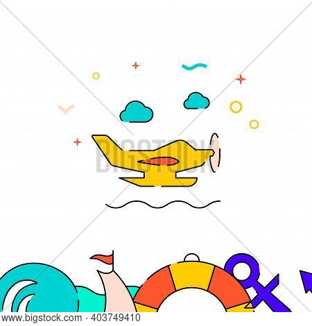Seaplane, Hydroplane Filled Line Vector Icon, Simple Illustration, Water Safety And Watercraft Relat