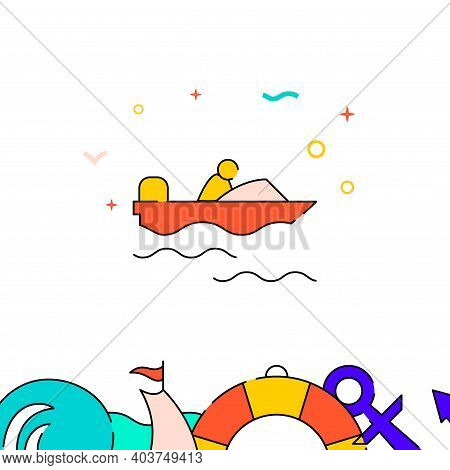 Power Boat, Motorboat Filled Line Vector Icon, Simple Illustration, Water Safety And Watercraft Rela