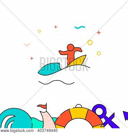 Surfer, Surfing Filled Line Vector Icon, Simple Illustration, Water Safety And Watercraft Related Bo