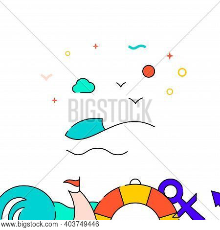 Sea Wave, Seascape Filled Line Vector Icon, Simple Illustration, Water Safety And Watercraft Related