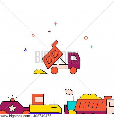 Dump Truck Dumps Pile Of Sand Filled Line Vector Icon, Simple Illustration, Special Transport Relate