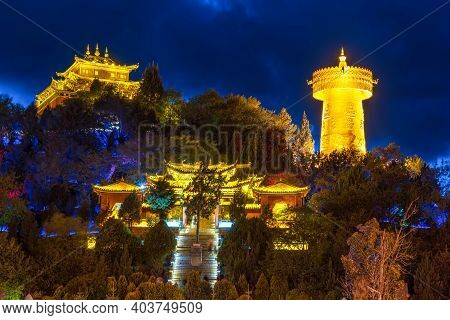 Scene Of Guishan Temple At Twilight Time, Shangri La, Yunnan, China. Tourist And Travel, Buddhist An