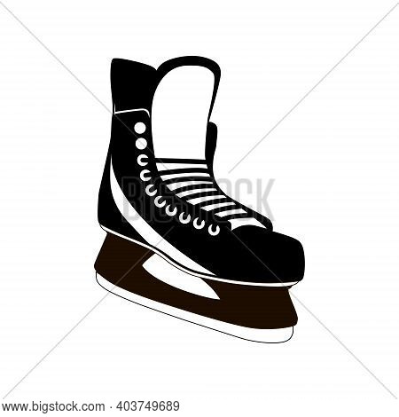 Ice Skates Isolated On A White Background. The Silhouette Of The Skates. Vector Illustration.