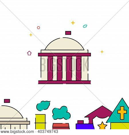 Capitol, White House, Government Building Filled Line Vector Icon, Simple Illustration, Building, Ho