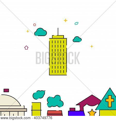 Skyscraper, High-riser Filled Line Vector Icon, Simple Illustration, Building, House Related Bottom