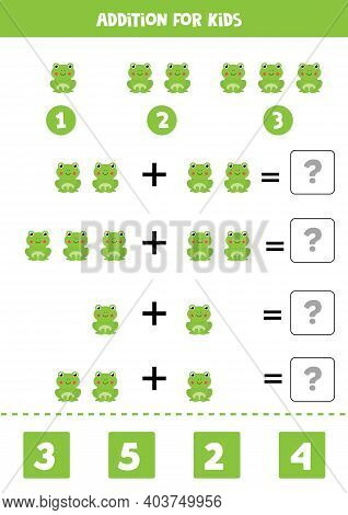 Addition Worksheet With Cartoon Frog. Math Game.