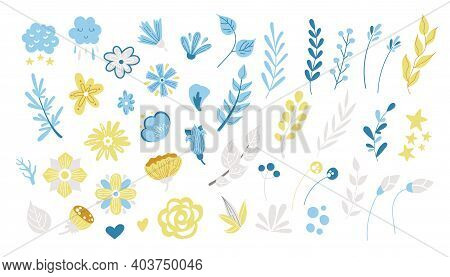Spring Floral Cartoon Clipart, Blue And Yellow Flowers, Brunches, Leaves Isolated On White Backgroun