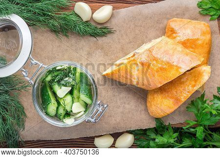 An Appetizing Snack Made From Lightly Salted Cucumbers. Restaurant Service Concept. Close-up.