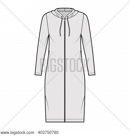 Hoodie Zip-up Dress Technical Fashion Illustration With Long Sleeves, Knee Length, Oversized Body, P