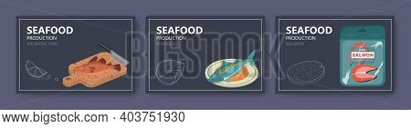 Seafood Production Website Banner Template Set, Vector Illustration. Atlantic Cod, Mackerel, Salmon
