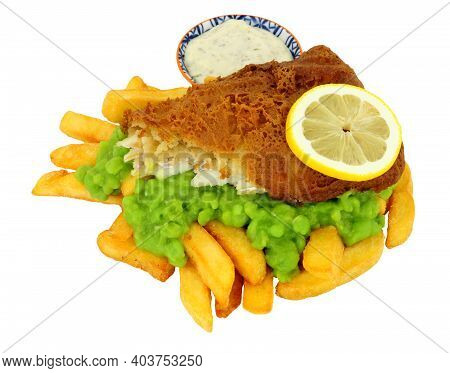 Beer Battered Fish And Chips Meal With Mushy Peas Isolated On A White Background